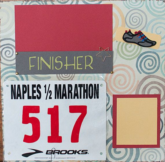 for the running photos. HALF MARATHON 2 Pages Scrapbook Layout 13.1 by TheScrapbookGallery