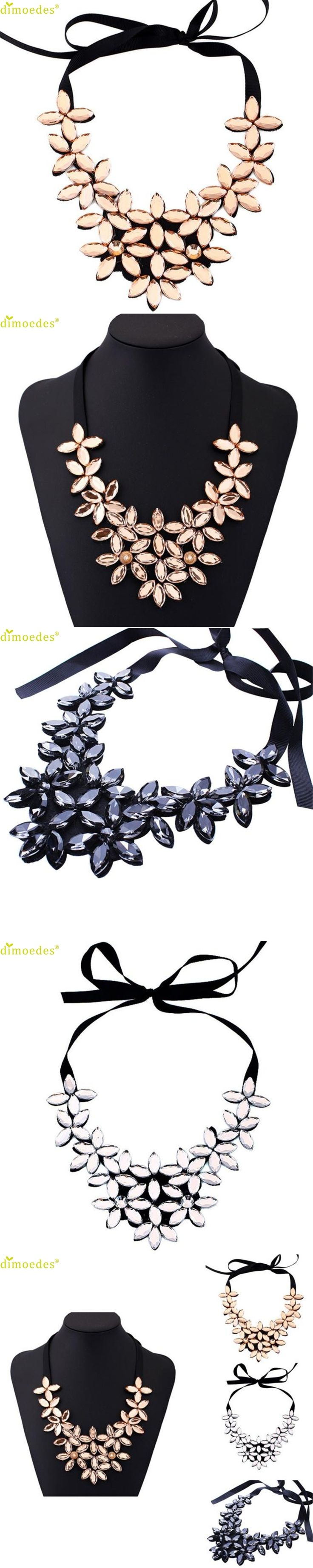 Diomedes Koly New  Necklace Women Flower Ribbon Chain Short Necklace Pendant Crystal Choker Chunky Collar Necklace Gift Choker