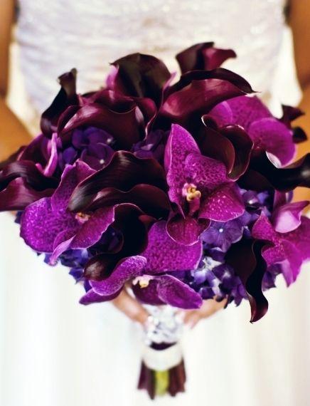 Purple = love. Vanda orchids, calla lilies & hydrangeas. #bouquet, #purple, #orchids