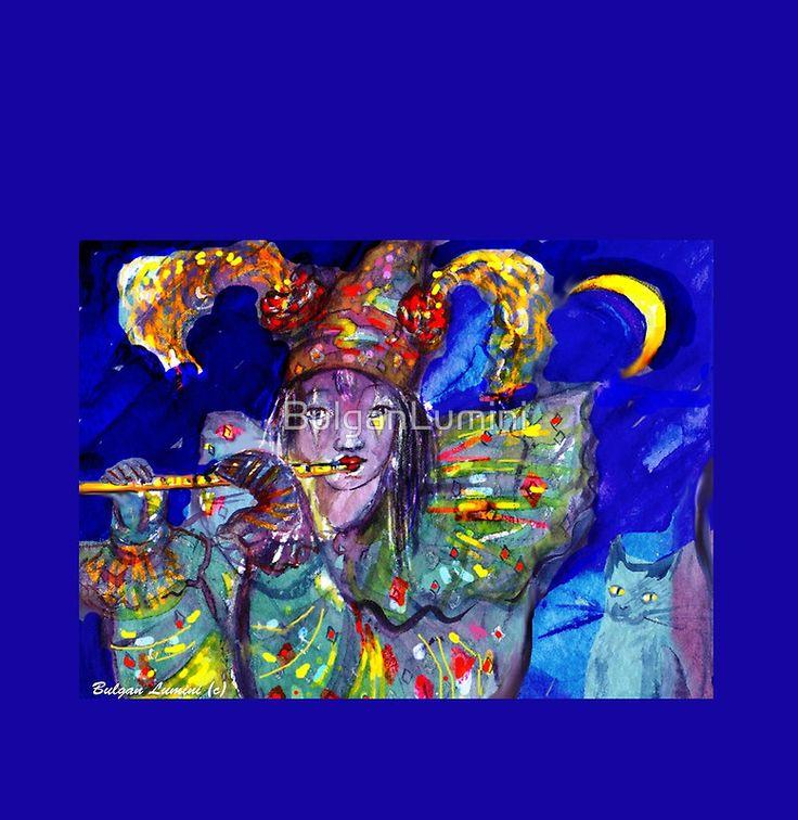 FLUTIST IN BLUE / Venetian Carnival Night Woman Chiffon Top bu Bulgan Lumini (c) #music #flute #moon #cat #clown