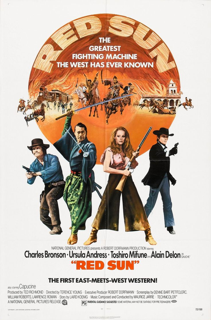 Red Sun: Stars U.S.-born actor Charles Bronson, Japanese actor Toshirō Mifune, French actor Alain Delon and Swiss actress Ursula Andress