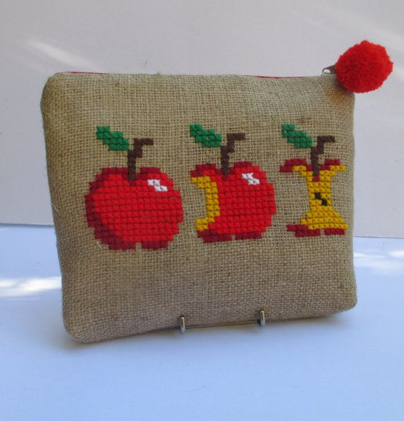 Red apples  burlap pouch bag cross stitch embroidery by Apopsis