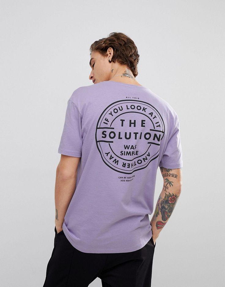 Bershka Solution Slogan T-Shirt In Lilac - Purple