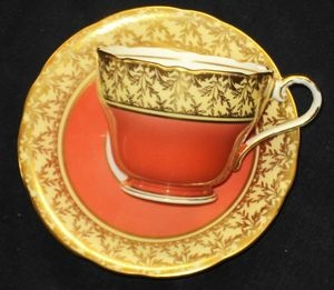 AYNSLEY GOLD CHINTZ CREAM ROYAL ORANGE TEA CUP AND SAUCER