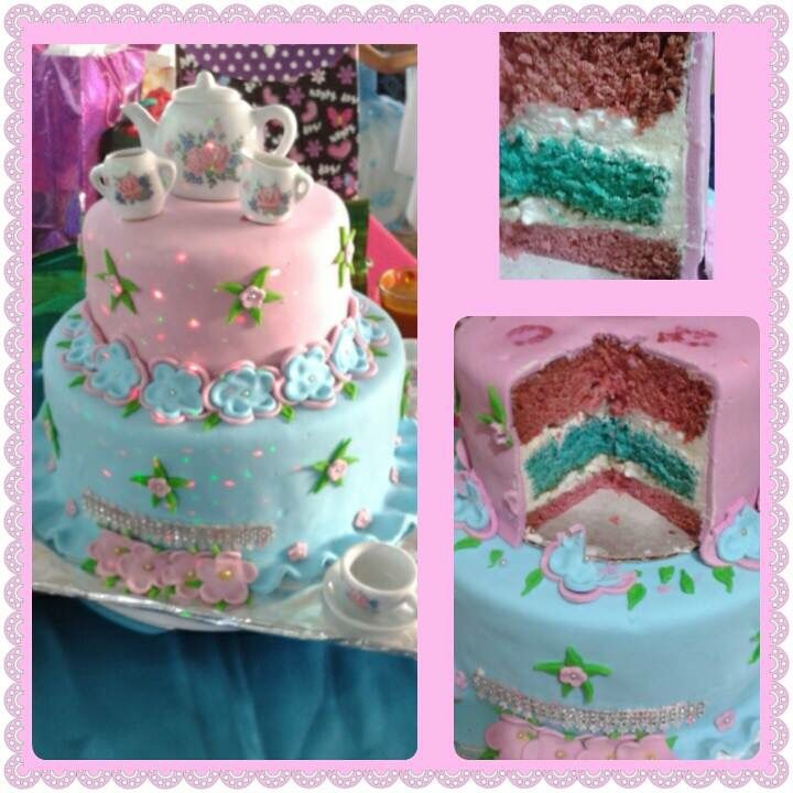 Tea Party themed cake with different coloured layers....created by Splurge Follow us on Facebook https://www.facebook.com/pages/Splurge-Treat-Yourself/1471854443062956