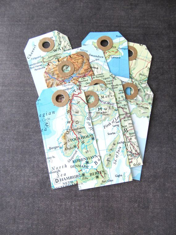 Map Tags Travel Theme Wedding Shower Party Favor by CatchSomeRaes
