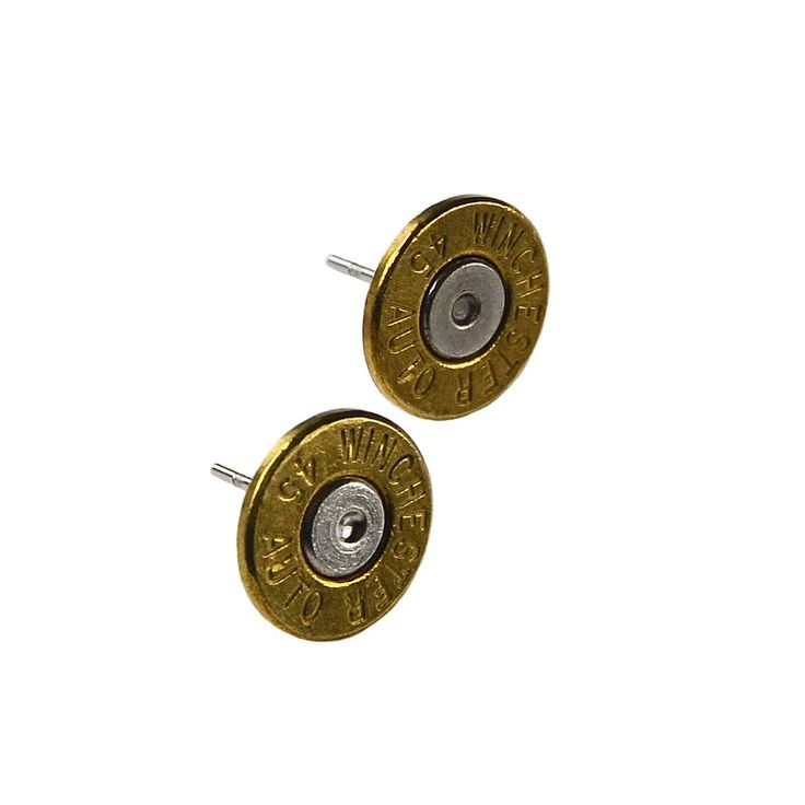 Genuine Winchester 45 Auto Bullet Stud Earrings by Mancornas on Etsy