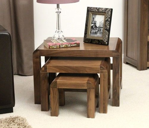 The Wooden Furniture Store's Shiro Walnut nest of three coffee tables makes great use of small spaces!