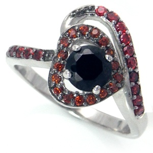 Black & Garnet Red CZ White Gold Plated 925 Sterling Silver Modem Heart Ring