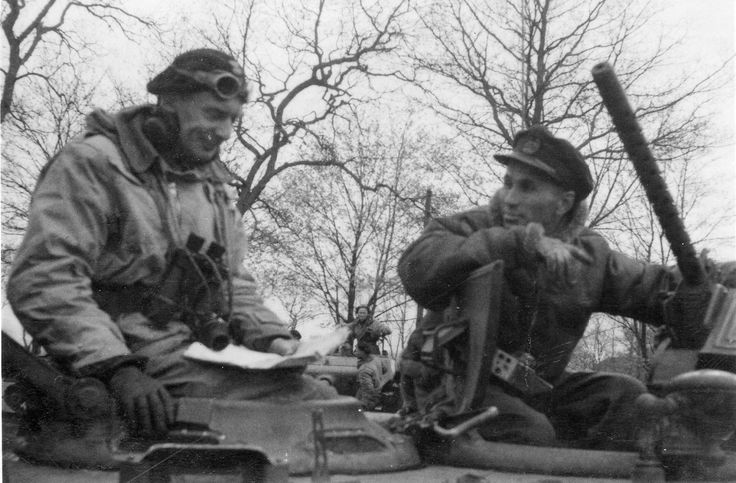 Close-up of previous photo.Lieutenant-Colonel Stanislaw Pawel Koszutski commander 2nd Armoured Regiment, Germany April 1945, seen left in the turret of his Sherman MkIIA with a RAF Air Liaison Officer to his right (published photo 174, Armoured Hussars). https://www.facebook.com/armouredhussars/photos/a.1412839862328291.1073741828.1412819458996998/1478055479140062/?type=3&theater