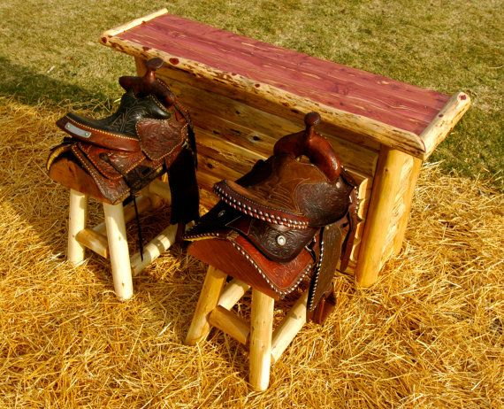Set of 2 Authentic Western Horse Saddle Bar by OutofThisWord, $1199.00