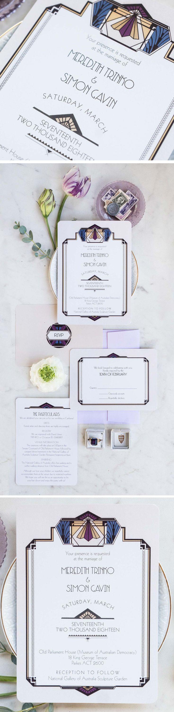 18 Best Art Deco Wedding Invitations Images On Pinterest Art Deco