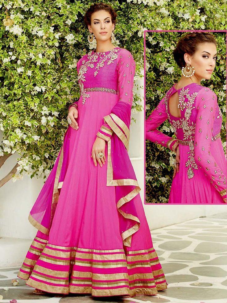 Charming pink color floor length anarkali fabricated on georgette with floral embroidery work. Item Code: SLANA712 http://www.bharatplaza.com/new-arrivals/salwar-kameez.html