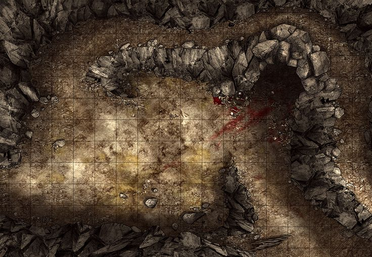 Cave encounter, a printable battle map for Dungeons and Dragons / D&D, Pathfinder and other tabletop RPGs. Tags: cave, mountain, hill, rocks, rocky, fantasy, giants, bones, blood, print