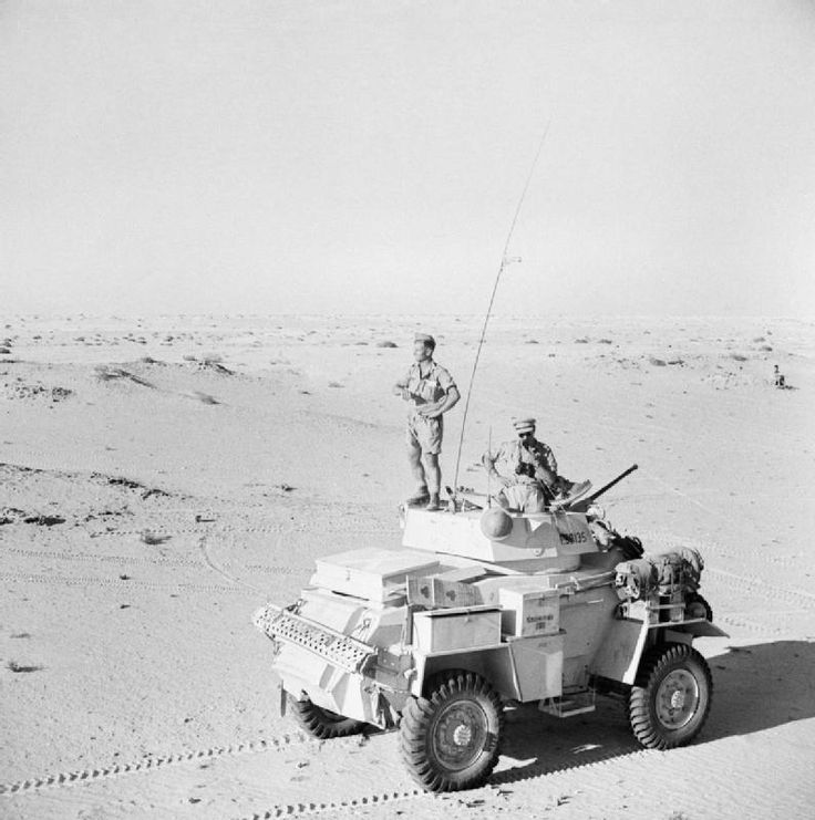 BRITISH ARMY NORTH AFRICA 1942 (E 14640)   A Humber Mk II armoured car of the 12th Royal Lancers on patrol south of El Alamein, July 1942.