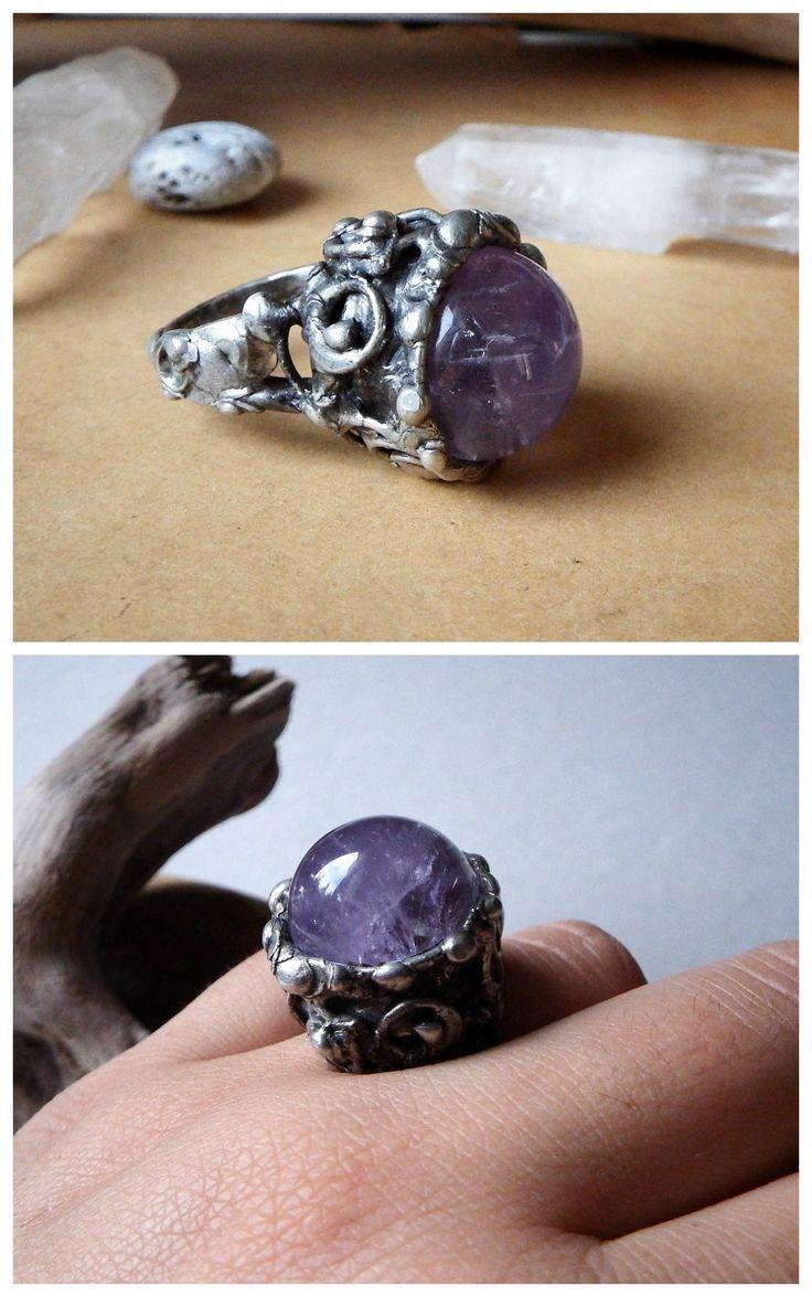 Amethyst Orb Ring by Alice Savage. Handmade artisan jewelry, crystal healing, bohemian