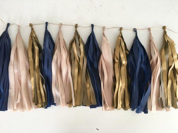 Tissue paper tassel garland in Navy Blue Antique Gold by PomJoyFun