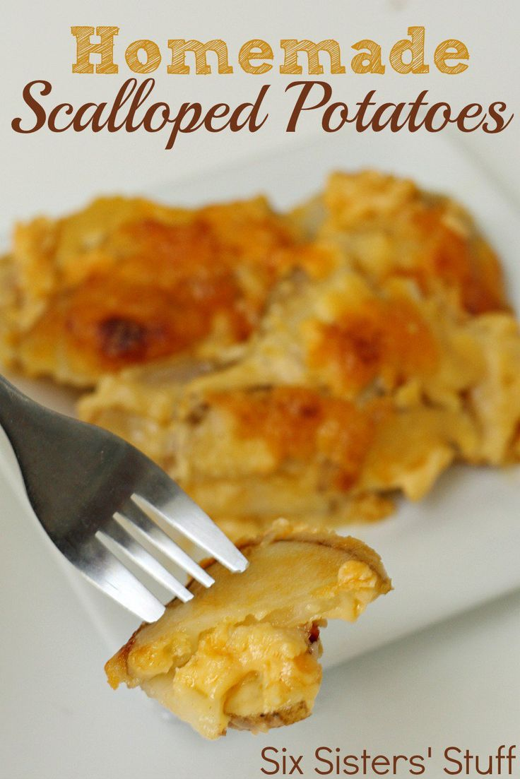 Homemade Scalloped Potatoes from SixSistersStuff.com- easy and so much better than boxed potatoes!