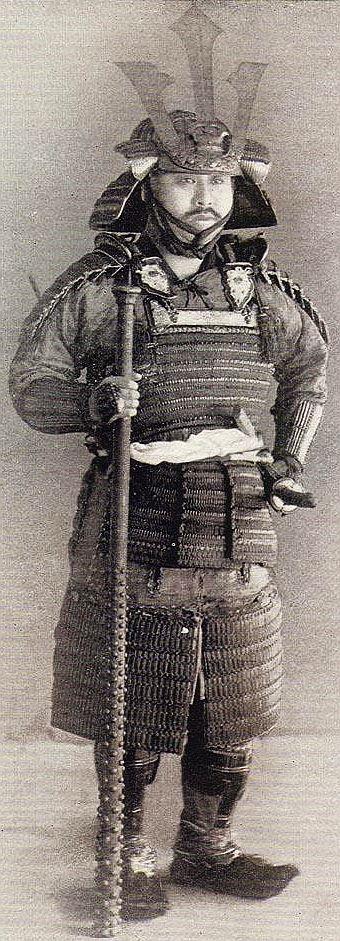 Samurai holding a kanabo (a two-handed battle mace)