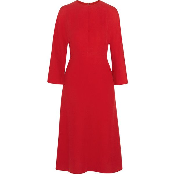 Valentino Silk-cady dress (8,285 CNY) ❤ liked on Polyvore featuring dresses, red, loose fit dress, loose fitting dresses, red dress, silk dress and red silk dress