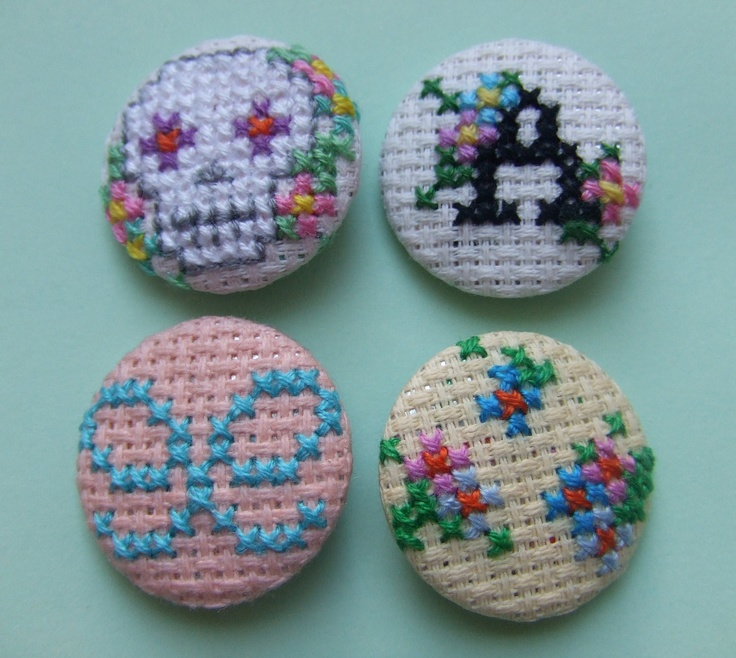 Personalised Button Badge Set with Skull, Flowers, Bow and Initial - Hand sewn in Cross-stitch.  via Etsy.