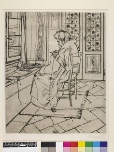 Boccioni, Umberto (1882-1916) My Mother at Work (Mia madre che lavora). Ca.1907. A portrait of the artist's mother knitting in front a window looking onto the street. Drypoint print on paper, 37 x 31 cm. PD 2002,0728.2.