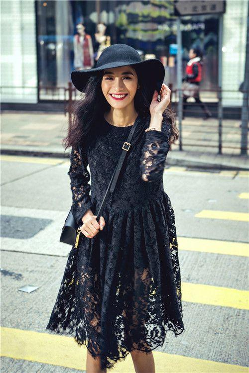Spring Street в центре города пользовательских моделей высокого класса сексуальные черные кружевные платья дамы платье в стиле больших европейских и американских женщин - Taobao