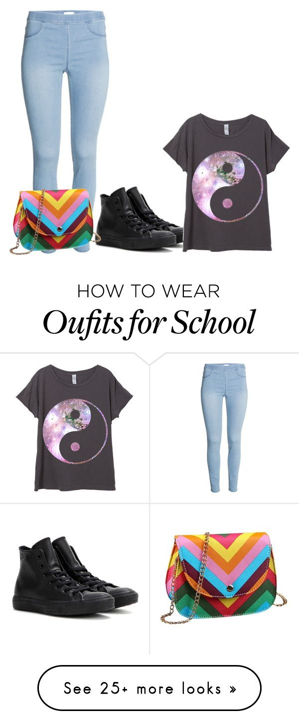"""""""School & Chill"""" by kayla2121 on Polyvore featuring Converse, women's clothing, women, female, woman, misses and juniors"""