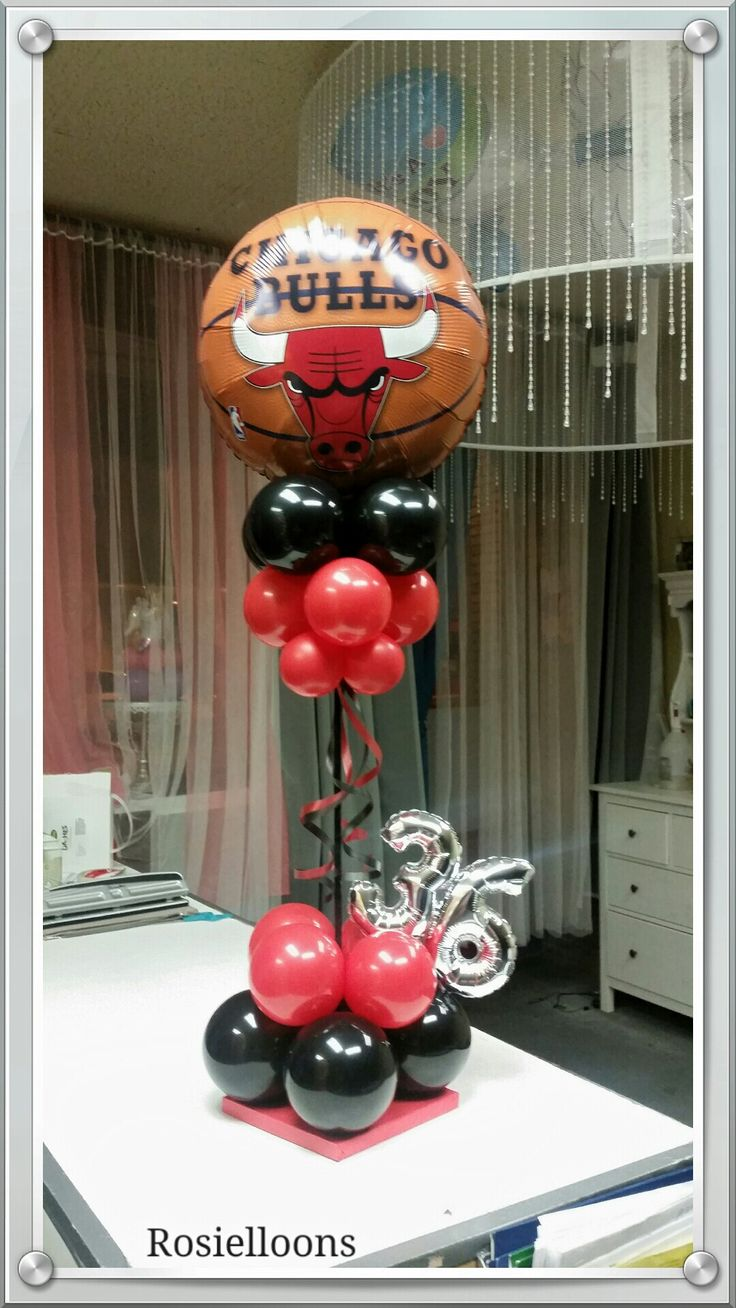 16 best images about chicago bulls balloons decor on for Balloon decoration chicago