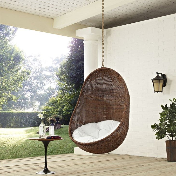Bean Outdoor Patio Swing Chair Without Stand in Coffee White - LexMod