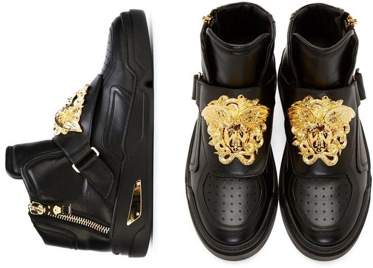 Versace Men's Shoes sneakers medusa gold metal sneakers versace black leather online shop