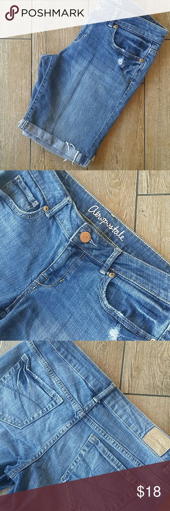 """AEROPOSTALE BERMUDA JEAN SHORT Medium rinse Distressed Bermuda short Sewn rolled up 8.5"""" inseam 15""""across top of waist 7.75"""" rise All holes/fraying by design No rips or stains Smoke free home Aeropostale Shorts Bermudas"""