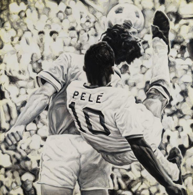 Pelé - Edson Arantes do Nascimento - New York Cosmos Shirt - Artwork by artist Andrea Del Pesco Oil painting on canvas, size cm. 90x90