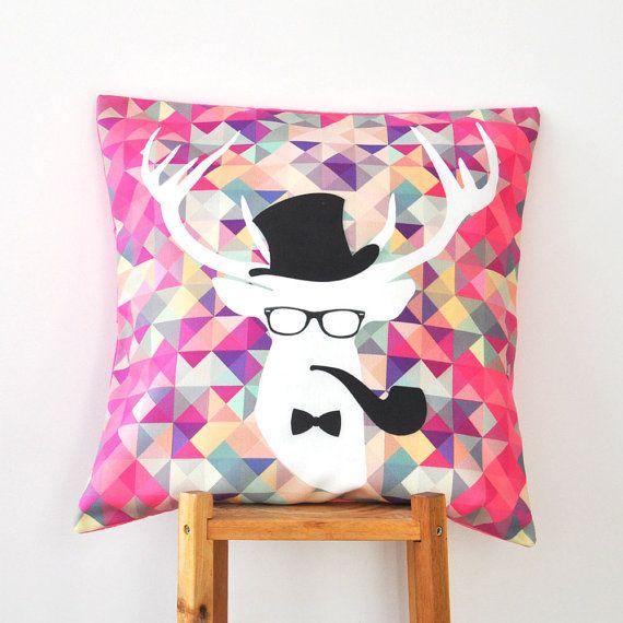 Hipster Deer, Kids Pillow, Geometric Decorative Pillows, Teen Pillows, Throw  Pillow,