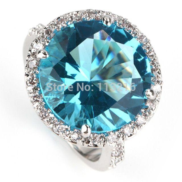 Панк оптовая продажа голубой цирконий мода ювелирные изделия посеребренная кольцо R750 sz # 6 7 8 9