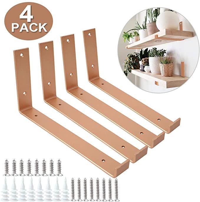 Amazon Com Shelf Brackets 12 Inch 4pcs Heavy Duty Bright Copper Wall Bracket With Lip For Floating Shelves Rustic Iron Metal Shelf Bracket F