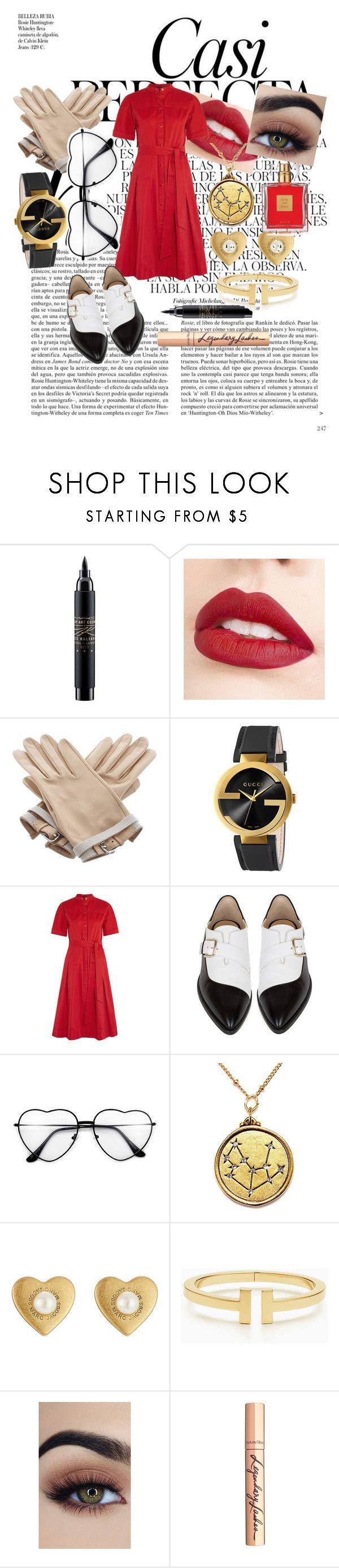 """Little red dress"" by eva-l118 ❤ liked on Polyvore featuring Whiteley, MAC Cosmetics, Jouer, Hermès, Gucci, Vanessa Seward, Bionda Castana, Marc Jacobs, Tiffany & Co. and Charlotte Tilbury"
