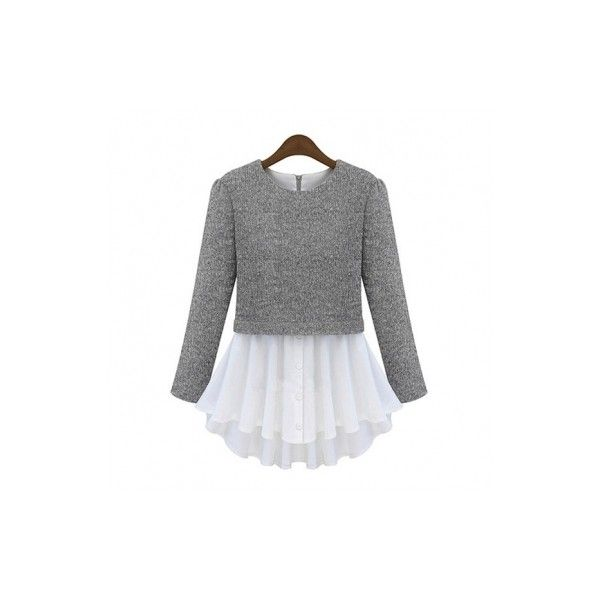 Western Newly Fake Two-Pieces Blouse Grey ($26) ❤ liked on Polyvore featuring jollychic