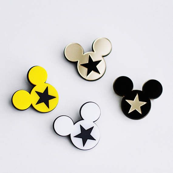 Acrylic pin brooch incrustation Mickey Mouse and Stars.