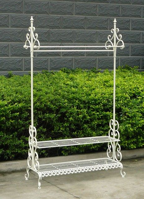 This Bentley Home Wrought Iron Clothes Rail & Shoe Rack is as elegant and classic as it gets. and will easily match any bedroom, hallway and dreesing room.