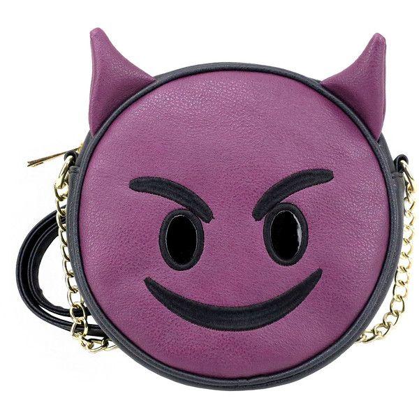 Olivia Miller Devil Emoji Crossbody Bag ($18) ❤ liked on Polyvore featuring bags, handbags, shoulder bags, purple handbags, crossbody shoulder bags, cross body, cross-body handbag and purple cross body purse