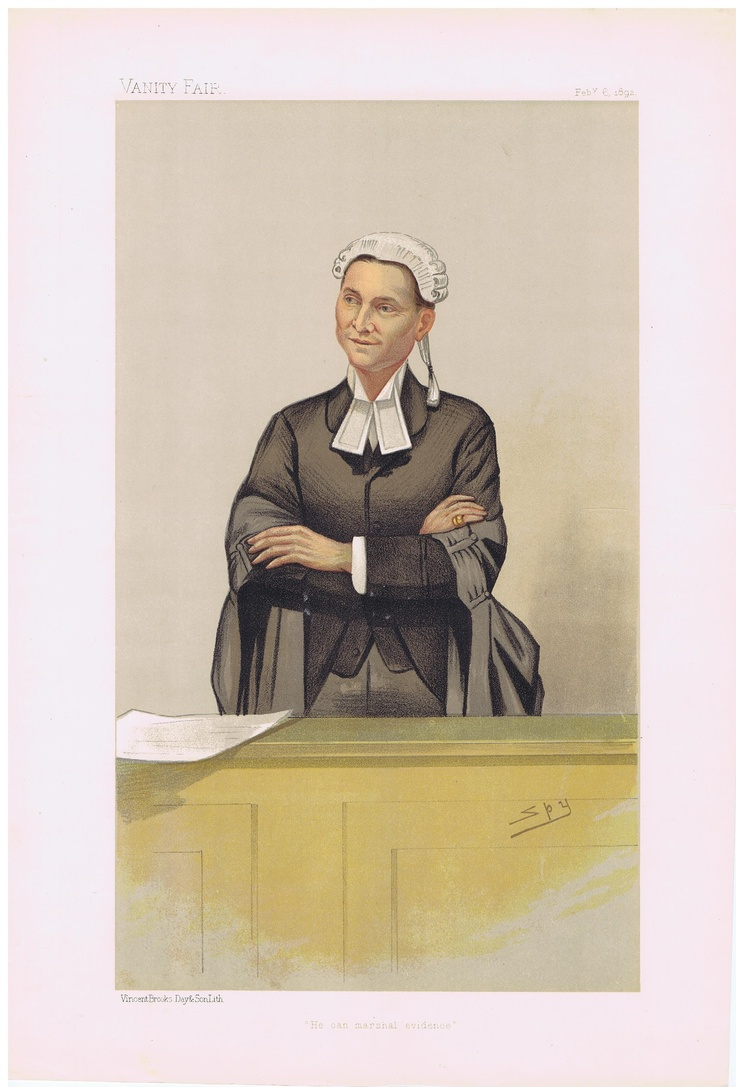 Date: 06-Feb-1892 The Vanity Fair Caricature of Mr. Charles Willie Mathews With the caption of : He Can Marshall Evidence By the artist: SPY Visit www.theakston-thomas.co.uk for many more Vanity Fair Prints, we have one of the largest collections in the world.