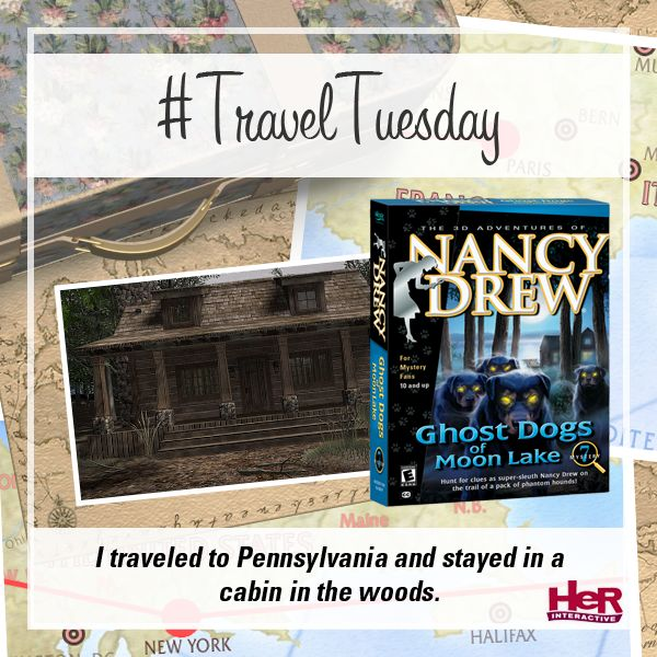 Have you ever stayed overnight in an old cabin? Play Nancy Drew: Ghost Dogs of Moon Lake at herinteractive.com! #NancyDrew #TravelTuesday