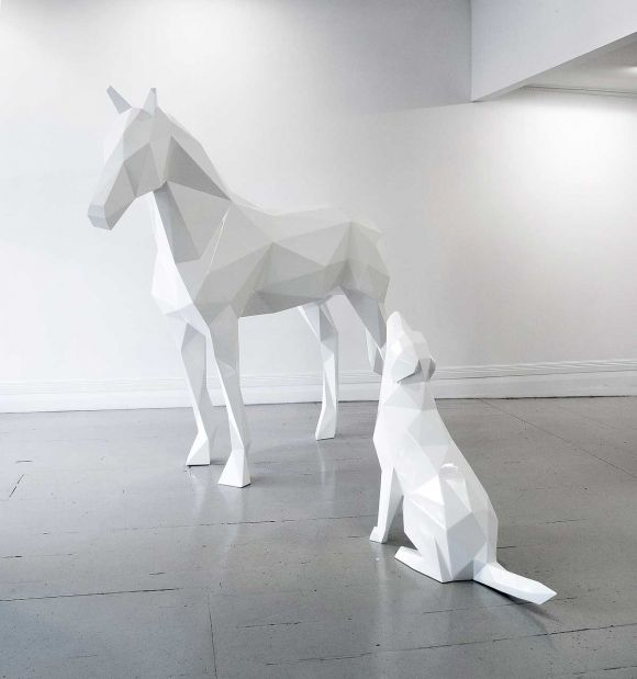 New Zealand sculptor Ben Foster began making a series of geometric animals in 2011.