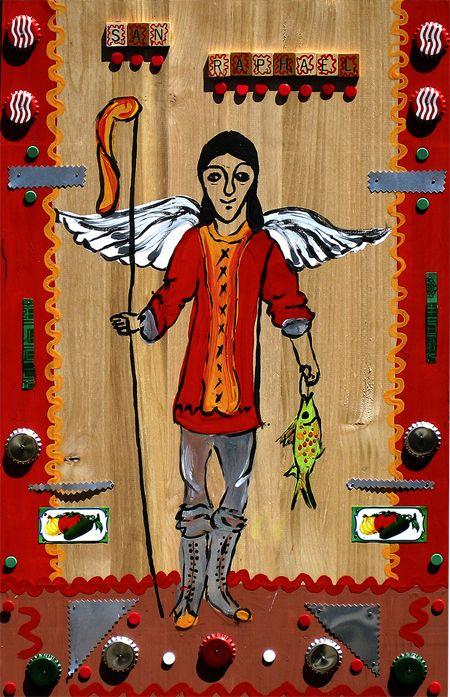 San Raphael - Patron Saint of Travelers (Acrylic on raw alderwood  Karen Rivera 2005)