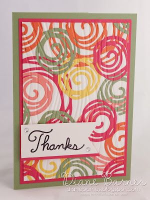 clean & fresh thank you card with swirly background using Stampin Up Swirly…