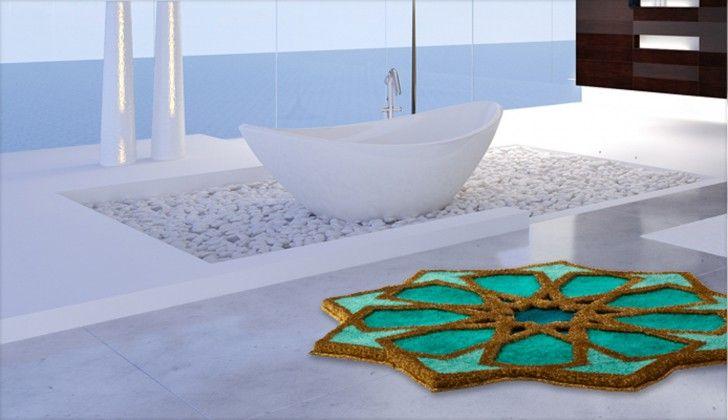 Sherezad - Předložka kruh, 140 cm (smaragdová-tyrkysová-zlatá)