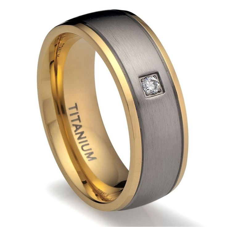 Gold Brushed Grey Titanium Wedding Ring With Cubic Zirconia Cool RingsMale