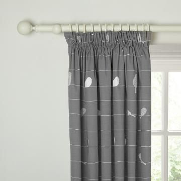 John Lewis Bird on a Wire Lined Pencil Pleat Curtains, Steel - ready made