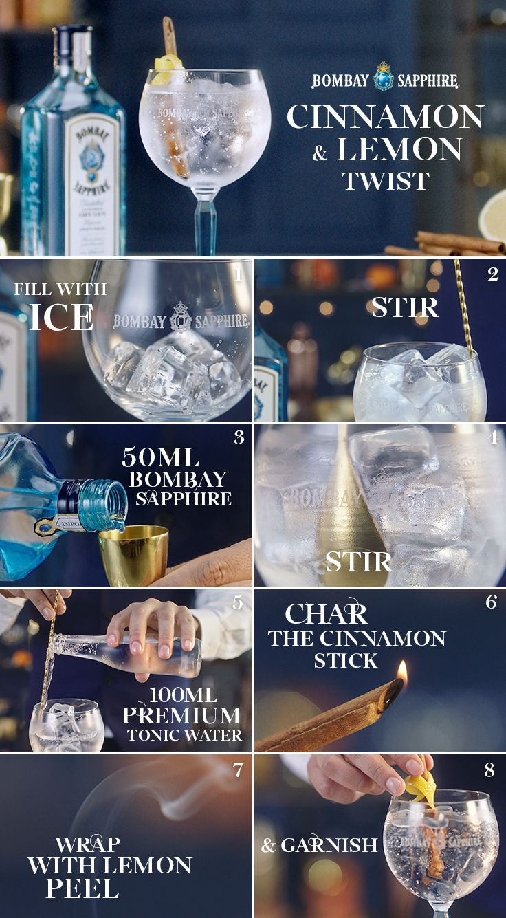 Cinnamon and Lemon Twist | A step-by-step guide to creating a Cinnamon and Lemon Twist | 50ml Bombay Sapphire | 100ml Premium Tonic Water | 1 Charred Cinnamon Stick | 2 Lemon Peels – one to squeeze, one for garnish